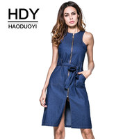HDY Haoduoyi Denim Zipper Women Dresses O Neck Tank Knee Length Vestido For Ladies With Bow