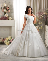 Free Shipping 2014 Modest Wedding Dresses Luxury Appliques Organza High Back Bridal Gown Short Sleeves Vestidos