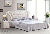 Королевский большие king размер кожа мягкая кровать спальня мебель мягкая кровать 3475