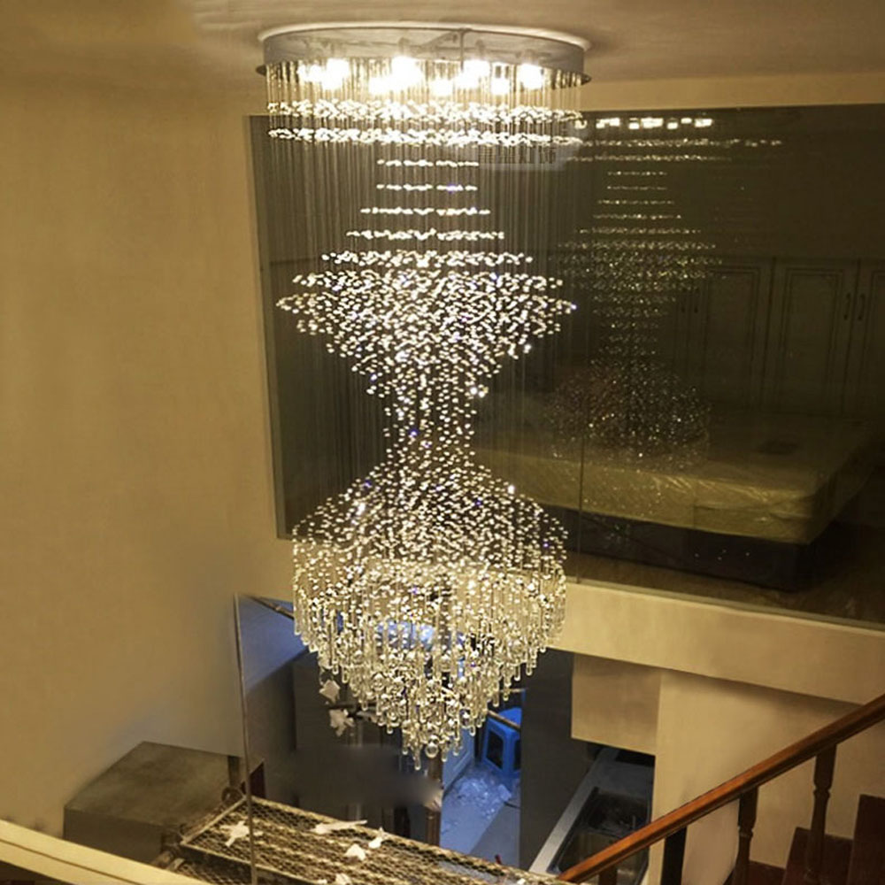LED modern duplex stair chandeliers crystal lamps staircase lights chandeliers villa lobby hanging lights led lighting fixture led crystal chandeliers lamp round ring hanging lights modern led crystal chandelier fixture for living room lobby ac110v 240v