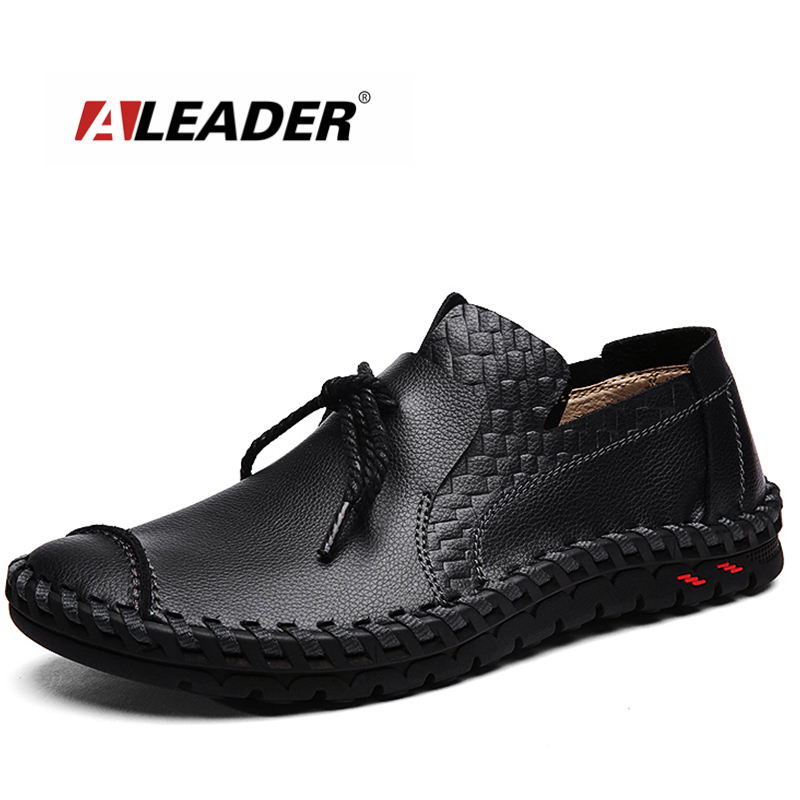 Aleader Genuine Leather Men Casual Shoes Fashion Handmade Outdoor Walking Shoes For Men Flat Driving Moccasins chaussures homme
