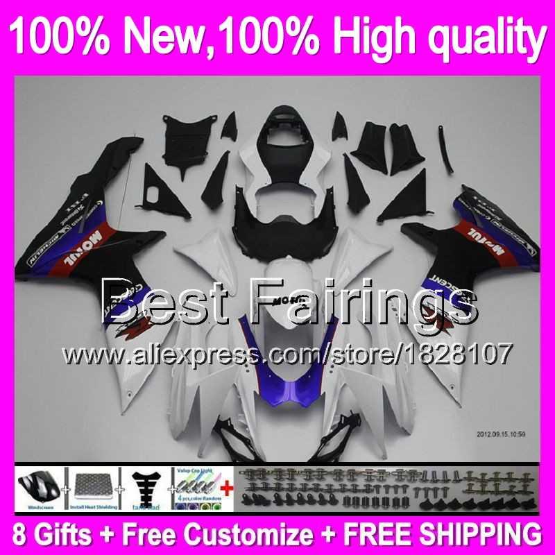 Biru putih Fairing Untuk SUZUKI GSXR600 2011 2012 2013 2014 K11 Saham 8B581 biru GSXR 600 750 11-14 11 12 13 14 GSX-R750 + Decal