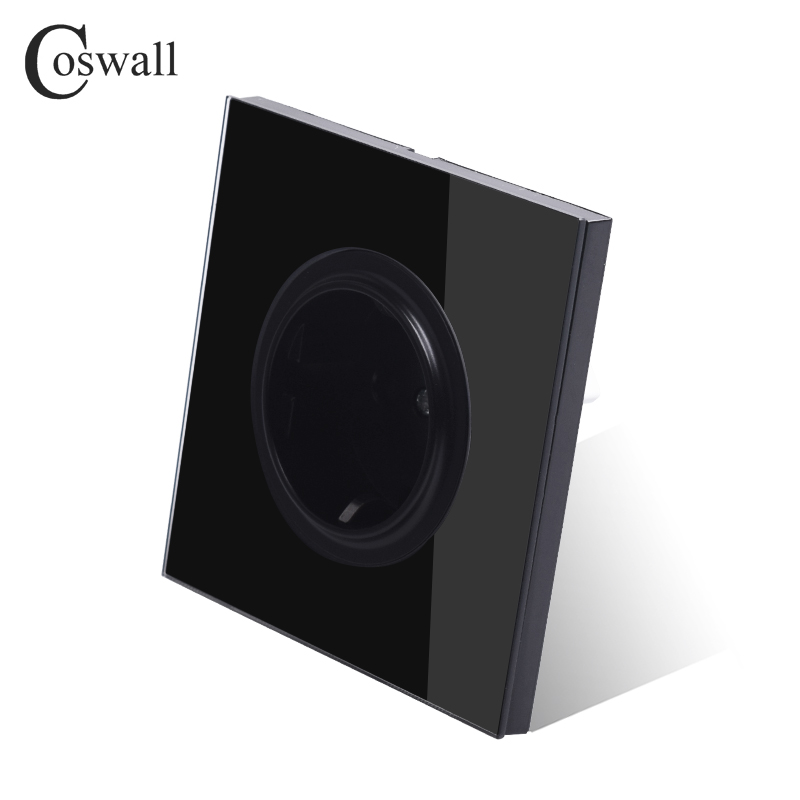 Coswall Black Crystal Glass Panel 16A EU Standard Wall Power Socket Outlet Grounded With Child Protective Lock R11 Series