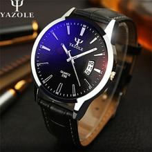 Yazole calidad marca reloj de los hombres relojes hombre reloj de cuero correa de reloj de cuarzo calendario fecha de reloj de cuarzo relogio masculino