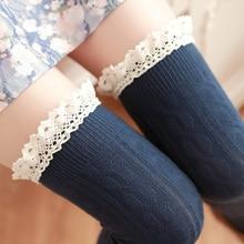 1 пара бедра высокие Носки Обувь для девочек Кружева зима теплая чулок Для женщин пикантные длинные гетры Medias колготки Гольфы Meia