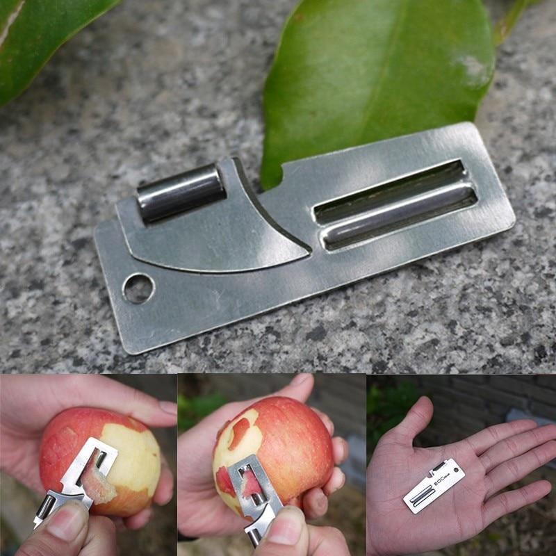1PCS Useful Pocket Opener Practical Multi Tool 2 In 1 Double Peeler Stainless Steel EDC Pocket Multi Tool Outdoor Can Opener