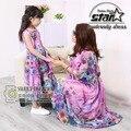 Vestidos de madre e hija familia look floral print clothing chica vestido largo maxi bohemio vestido de la playa vestido de mamá