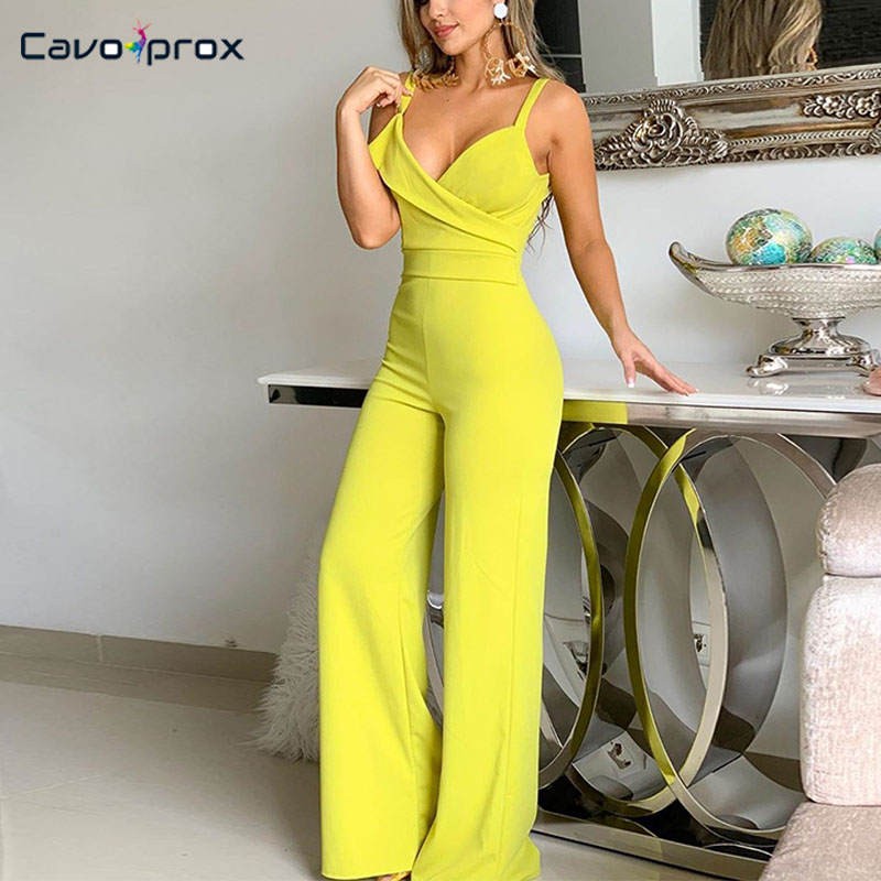 Women Spaghetti Strap Plunge V-neck Wide Leg Bodycon   Jumpsuits   Slim Fit Elegant Solid Sleeveless Fashion New Trends Overalls