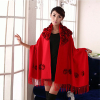 pashmina cashmere shawl Winter Wool Knitted Designer Scarf Luxury Brand Warm Scarves with Real Rabbit Fur Flower Femme capes