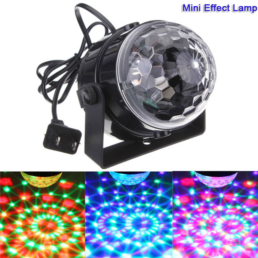 все цены на New 110V 220V Mini RGB LED Effect Light Crystal Stage Magic Effect Ball Lamp for Party Disco Club DJ Bar Show Dazzle Lights онлайн