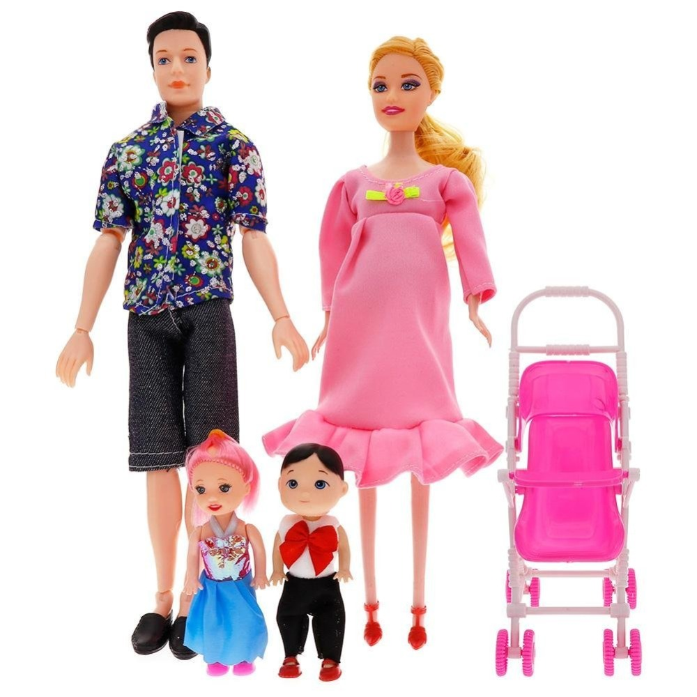 Family Dolls Set of 5 with Dad Pregnant Mommy Daughters and Baby in Tummy for Education and Childrens Day