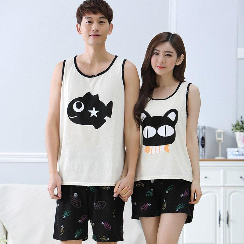 MISSKY Men Women Lovers Pajama Sets Summer Fashion Casual Home Wear Set Male Clothes For Sleepwear(China)