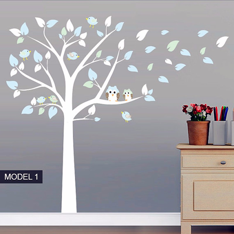 New On Seal Owl Standing Huge White Tree Wall Sticker Baby Nursery Bedroom Art Decor