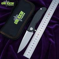 GREEN THORN HATI Flipper F95 M390 blade 3D CF + Titanium Handle folding knife Outdoor Camping EDC tools Hunting pocket knive