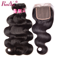 RUIYU Human Hair Bundles With Closure Body Wave Brazilian Hair Weave 3 Bundles With Closure Swiss