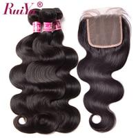 RUIYU Human Hair Bundles With Closure Body Wave Brazilian Hair Weave 3 Bundles With Closure Swiss