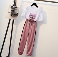 HAMALIEL Summer Plus Size Tracksuit Women Short Sleeve Print Cat Sequin Diamonds T Shirt Pant Suits +Pink Pencil Pants Set L 4XL