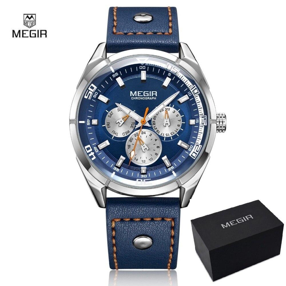 MEGIR Original montre hommes Top marque de luxe Quartz montres militaires en cuir montre-bracelet hommes horloge Relogio Masculino Erkek Kol Saati
