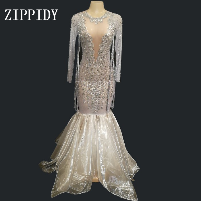 Sparkly White Tail See Through Rhinestones Dress Women s Evening Birthday Celebrate Mesh Dress Costume Dance