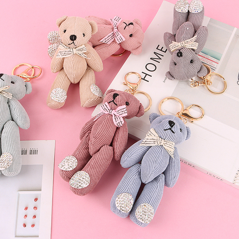 Hot Kawaii Teddy Bear Plush Soft Toys Stuffed Animals Plush Keychain Bag Decoration Pendant Girls Toys