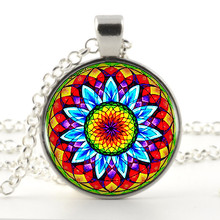 Cheshire Mandala Flower Logo Pendant Necklaces For Women Men Silver Plated Chain Long Necklace Collana Vintage