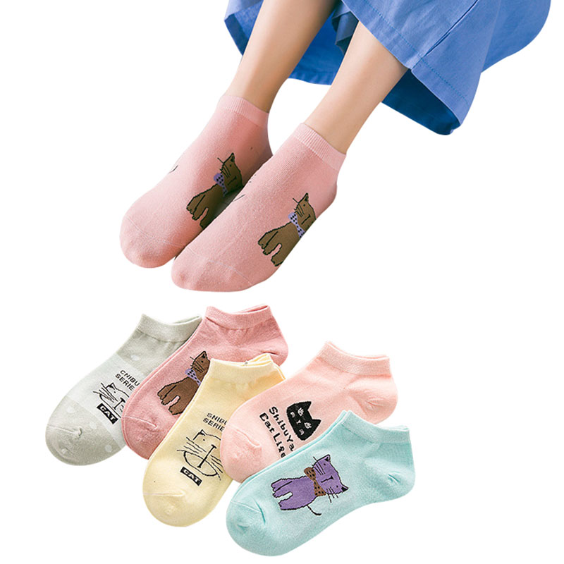 5 Pairs Fashion Women Socks Cotton Low Cut Silicone Invisible Ankle Sock Cartoon