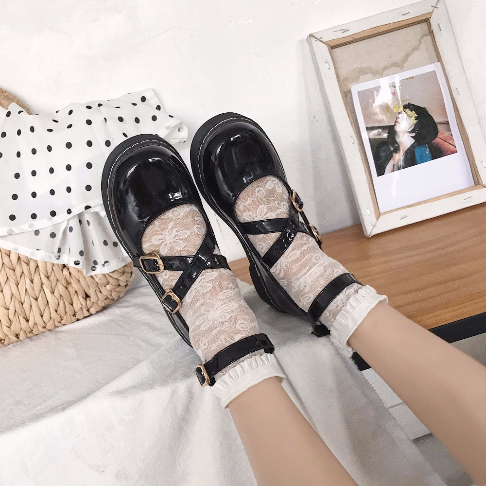 Women Oxfords Brogue Flats Black Shoes Summer Patent Leather Round Toe Female Footwear Leather Creepers Shoes For Women Size 39