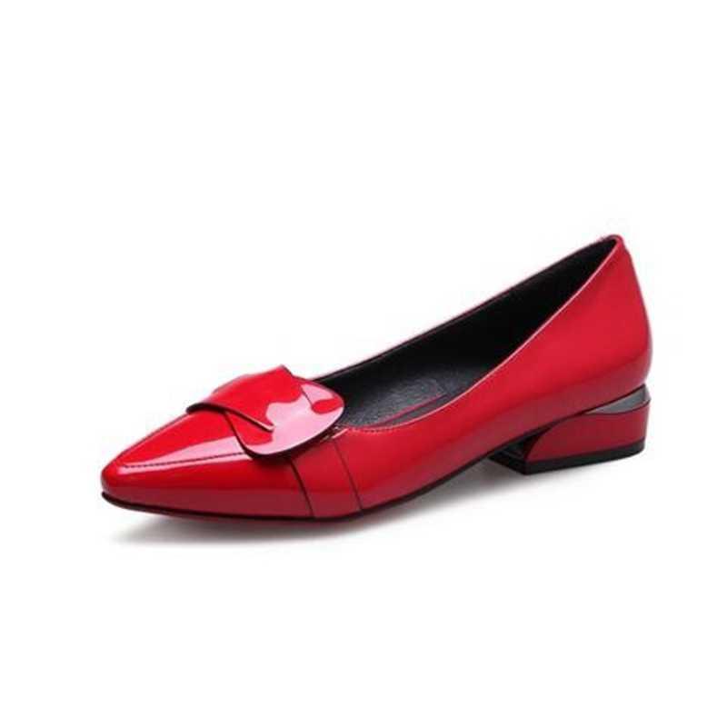 VANGULL Vrouwen Lakschoenen OL Loafers Snoep Kleuren Wees Toevallige Lage hakken Vrouwelijke Zoete Gesp Boot Geel Rood schoenen