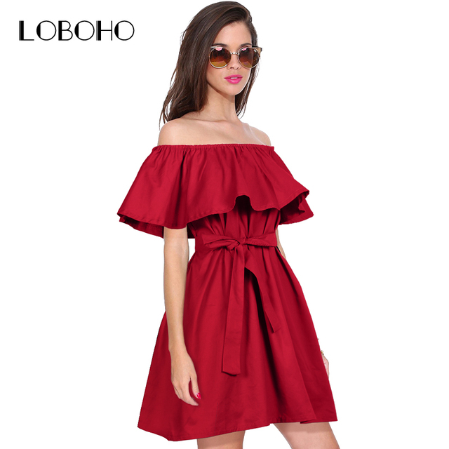 d3d72c10ce69 Ruffle Off Shoulder Dress Casual Women Summer Dresses With Bow Belt 2018  New Fashion Loose Womens