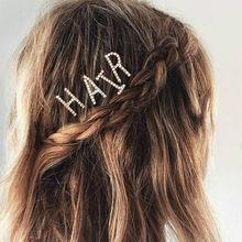 Women Big A-Z Capital Letters One Word Hairpin Minimalist Glitter Rhinestone Alphabet Hair Clip Side Bangs Styling Barrette