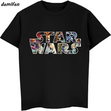 Star Wars Cartaz Camiseta Selo Princesa Leia Darth Vader Chewbacca Yoda Tshirt Engraçado Star Wars T-Shirt do Preto Da Forma Do Vintage homens(China)