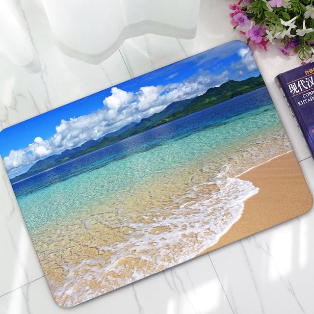 Scenic Carpet Beach Print Carpets Rubber Bathroom Water