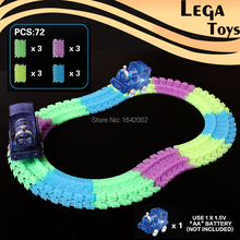 72PCS Glow Racing Track Miraculous Glowing Race Track Bend Flex Flash in the Dark Assembly Toys Glow tracks with Led Thomas Car