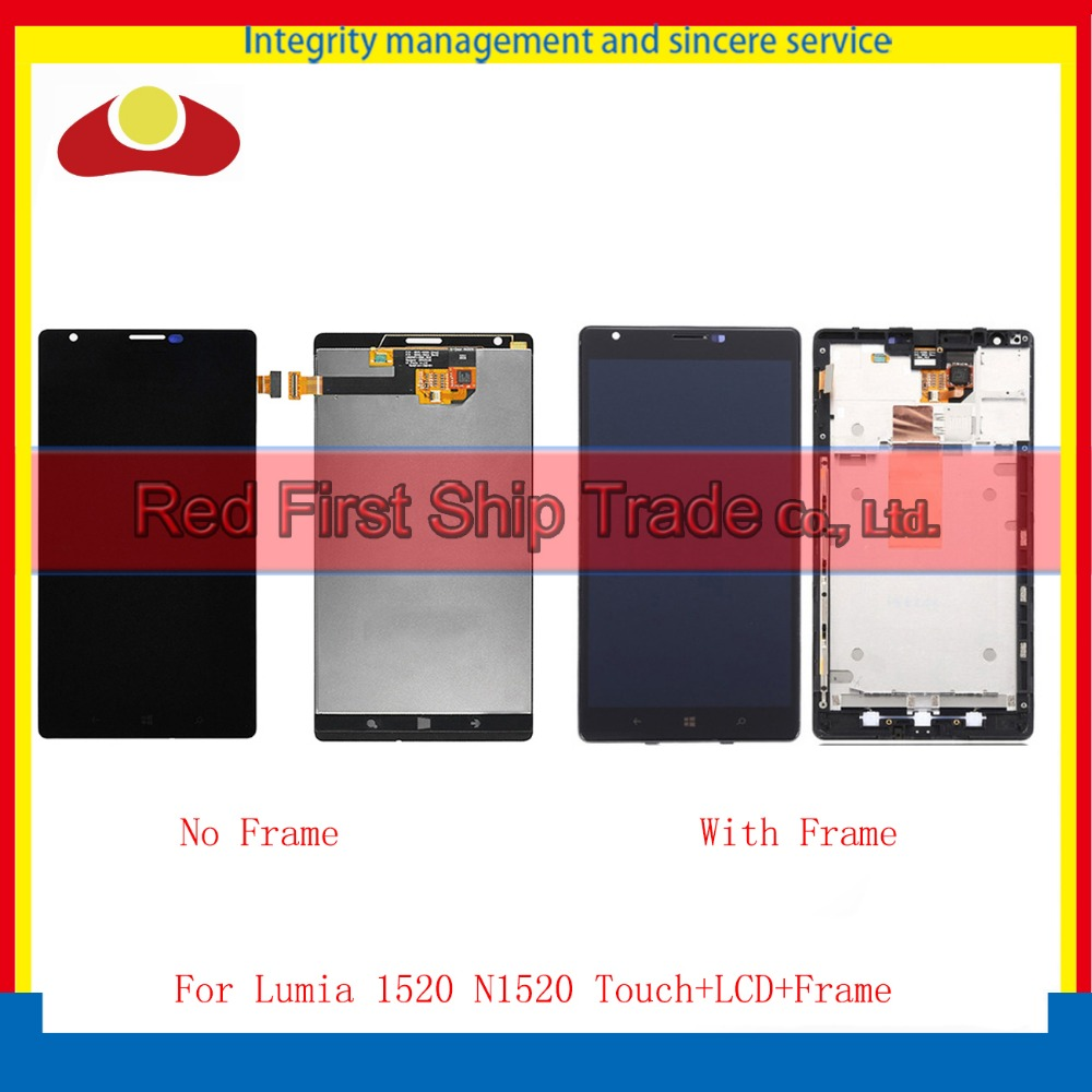 High Quality For Nokia Lumia 1520 LCD Display Touch Screen Digitizer Sensor Assembly Complete Panel With Frame Tracking Code for datalogic falcon x3 lcd screen display with touch screen digitizer assembly complete for 3rd version