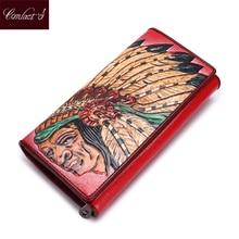 CONTACT'S Frauen Geldbörsen Geldbeutel Markendesign Indischen Stil Geprägt Echtem Leder Dame Lange Wallet Clutch Handtasche