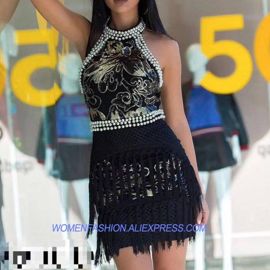 Vestido Hacia Backless Ahueca Sexy Lentejuelas Bodycon Invierno Partido white Robe Vestidos 2017 Señora Femme Mujeres Perla Fuera Blanco Elegante Negro Black vIPqB5w