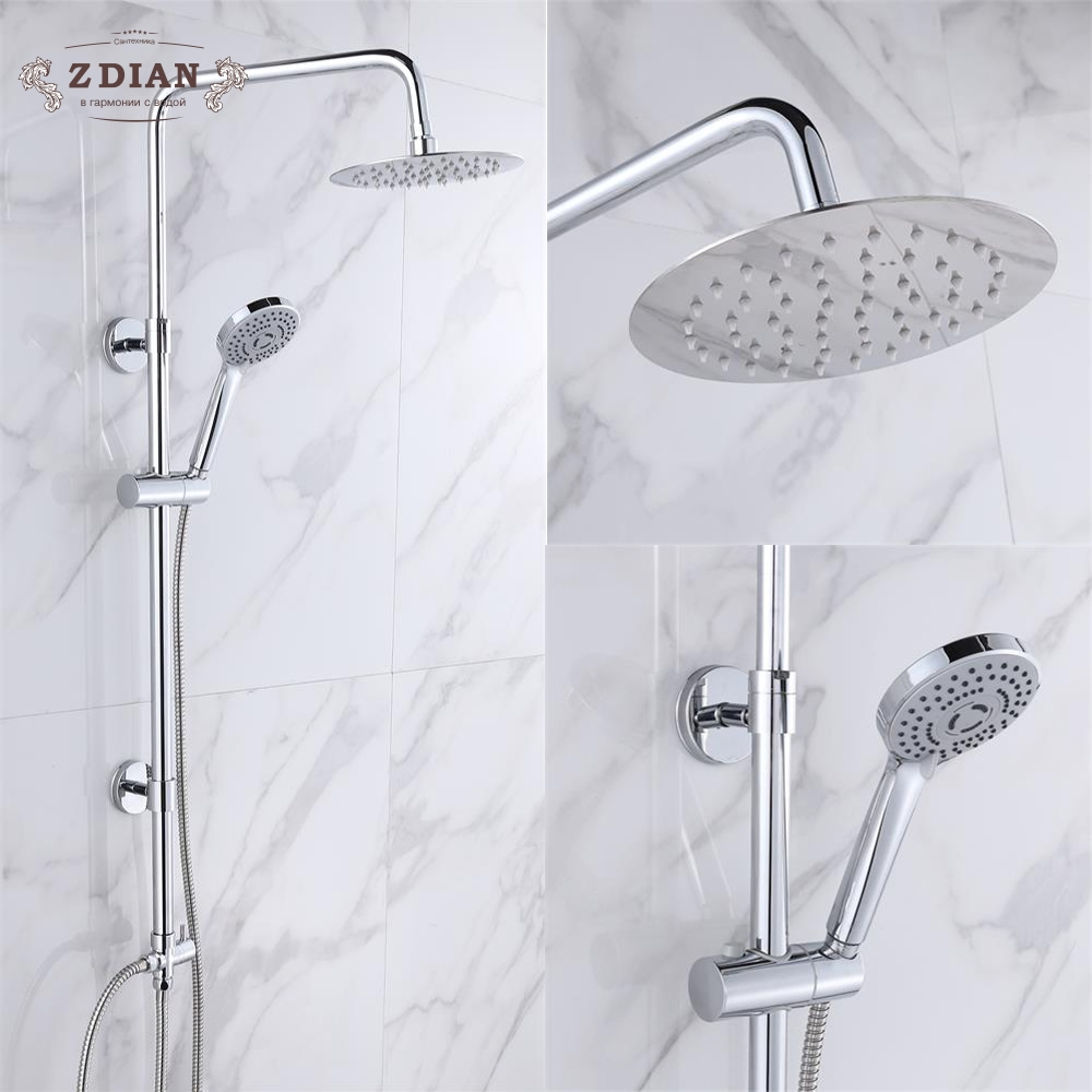 цена на Good Quality Bath Shower Faucet Dual Handle Shower Set Rainfall Shower Head Shower Mixer Kit with Handshower Hot cold water tap