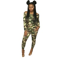 Sexy Slash Neck Camouflage Print Jumpsuit Long Sleeve Women Army Green Off Shoulder Skinny Overalls Plus