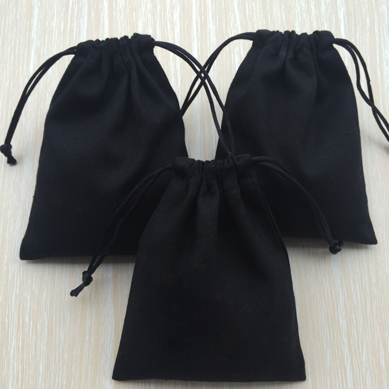 50 Personalized Jewelry Packaging Wedding Favor Bags Black Cotton Canvas Bags Custom Logo Makeup Drawstring Bag Chic Small Pouch