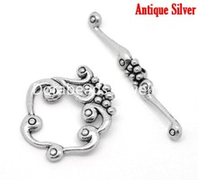 Doreen Box Lovely Antique Silver Toggle Clasps Findings 41x5mm(1-5/8″x1/4″)26x24mm(1″x1″),10 sets per lot (B16889)