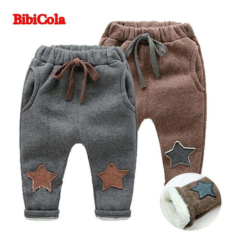 BibiCola 2017 New Autumn Winter Children Warm Cotton Pants baby Boys Velvet Trousers Pants Thick Pants Children's Clothes pants