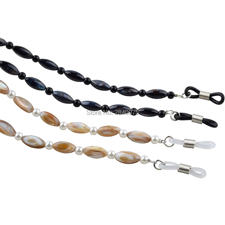 Black white shell beaded with round plastic beads neck chain cord for sunglasses eyewear strap glasses rope