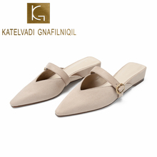 KATELVADI Summer Flats Mules Lady Slippers Beige Flock Slip On Pointed Toe Outdoor Slipper Shoes Woman Slides K-404