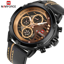 NAVIFORCE Luxury Brand Mens Quartz Sports Watches Man Leather Hollow Face 24 Hour Date Clock Men Fashion Waterproof Wrist Watch