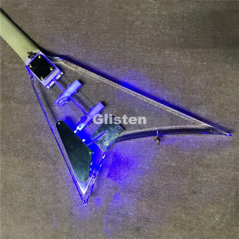 Acrylique flyingV guitare électrique avec manche en ébène, LED lumière basse guitare livraison gratuite
