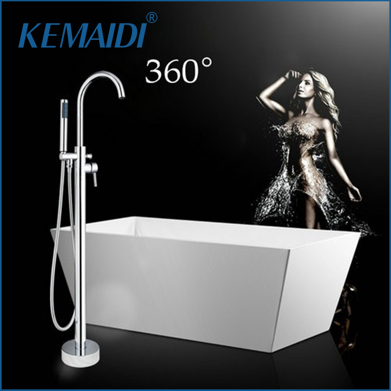 US Modern Chrome Polish Bathroom Shower Set Faucet Hand Shower Floor Mounted Free standing Bathtub Faucet