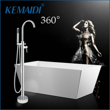 (Ship From US) US Modern Chrome Polish Bathroom Shower Set Faucet Hand  Shower Floor Mounted Free Standing Bathtub Faucet Mixer Tap Hand Shower