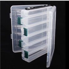 19.5*16.5*4.8cm Plastic Fly Fishing Lures Tackle Box Double Sided High Strength Transparent Visible with Drain Hole