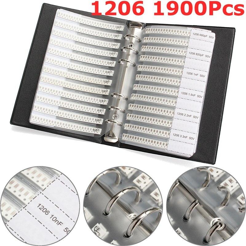Nouvelle Arrivée 1206 SMD SMT Condensateurs À Puce Échantillon Livre 38ValuesX50Pcs Total 1900 pcs 10PF ~ 22 uf Condensateur Trousse