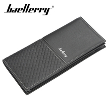 Baellerry Men Wallet PU Leather Solid Black Long Wallet No Zipper Thin Porta Handbag Coin Pocket Photo Holder Fashion Wallet Men baellerry men solid black long wallet pu leather zipper n rope wallet coin pocket card holder photo holder business wallet men